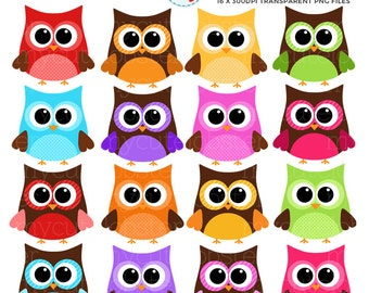 Rainbow Owls Clipart Set - clip art set of bold, rainbow, patterned owls - personal use, small commercial use, instant download