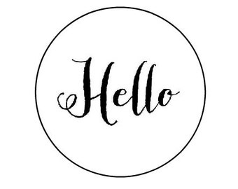 Hello - 16 round stickers // envelope seals // labels 1.2""