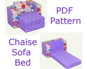 Doll Bed Chaise Sofa Bed PDF pattern and tutorial Fits up to 18 inch size doll
