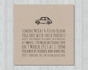 Printable Wedding Invitation - Fiat 500
