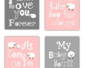 Art For Girls Room // Pink Nursery Decor // Pink Wall Art // Pink and Gray Nursery // I'll Love You for Always Art Lamb //4-8x10 PRINTS ONLY