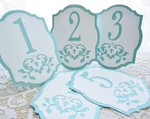 Intricate Wedding Table Numbers in Aqua Blue and White - Damask Cutout - Choose Your Colors