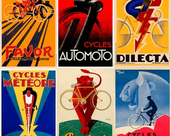 Art Deco Bicycle Poster Set of Six Prints