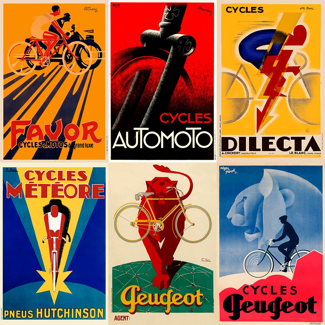 Art Deco Posters: Art Deco Bicycle Poster Set Of Six Prints