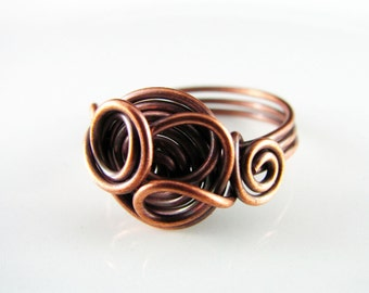 Wire Wrapped Ring Copper Knot Ring Size 9 Wire Wrapped Jewelry Copper Wire Ring