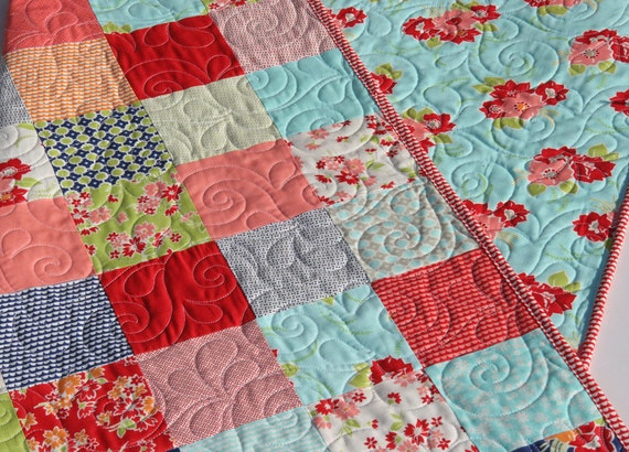 Miss kate quilt kit bonnie and camille moda fabrics red blue aqua cream retro flowers baby - Do it yourself moda ...
