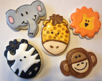 Zoo Animal Birthday Sugar Cookies - Safari Birthday Party - Safari Baby Shower Favors - Zoo Baby Shower - Decorated Sugar Cookies