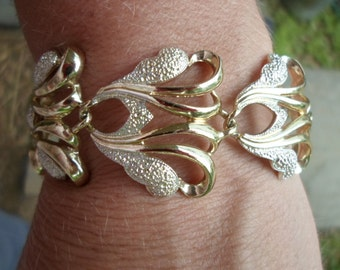 Vintage Gold/Silver Tone Bracelet Sarah Coventry Large Chunky Shiny 1960s