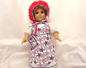 Five-piece Independence Day outfit, long dress for 18 inch dolls.  Dress, Jumper, Pantaloons, Bonnet, and Purse.