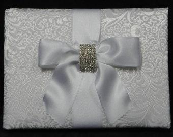 White Brocade Bridal Guest Book