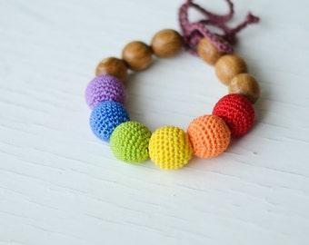 Simple Rainbow Teething Bracelet - oak wood