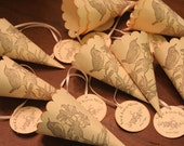On Reserve for Terri, 60 Wedding Favor Paper Cones with Tag, Two Birds & Flora, Petal Toss, Vintage, Confetti, Rustic, Shabby Chic, Unique