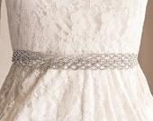 Bridal Sash, Wedding Sash Belt, Vintage Style Rhinestone Sash, Art Deco Crystal Lace Bridal Belt, White Ivory Silver Ribbon Sash, ELICIA