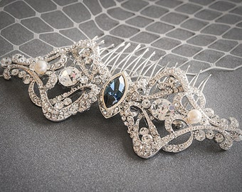 Bridal Hair Accessories, Wedding Hair Comb, Swarovski Crystal and Pearl Bridal Hair Comb, Victorian Art Deco Headpiece Jewelry, ESTHER