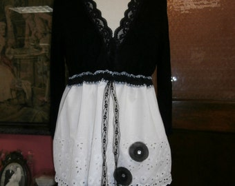 Black and White Top,Romantic Top,Vintage Eyelet Top,Bohemina Top,Upcycled Top,Empire Top,Size L