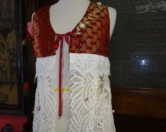 Victorian Vest,Bohemian Vest,Romantic Vest,Silk Brocade Vest,Upcycled Vest,Shabby Chic Vest,OOAK Vest