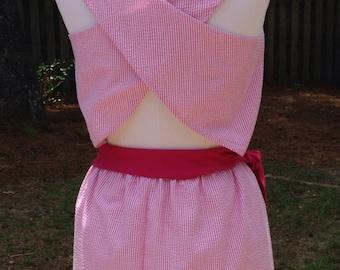 Emma, seersucker dress, lined,  criss-cross back, cut out opening