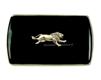 Running Lion Vertical Business Card Case Inlaid in Hand Painted Black Enamel Neoclassic Style with Personalized and Color Option