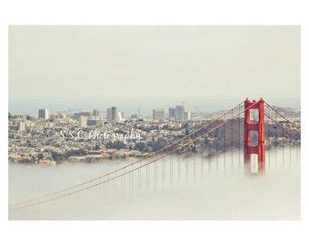 Golden Gate Bridge Photography. San Francisco Photo. Fog. City. Skyline. California. Travel. SF home decor