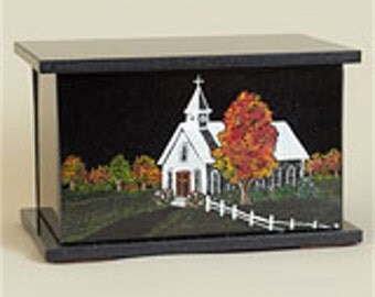 Hand Etched Cremation Urn  Black Granite Church In The Wildwood