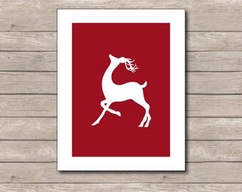 Reindeer Christmas Printable, ChristmasArt Print, Red Reindeer, Reindeer Art