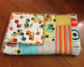 """MOVING SALE Riley Blake Peak Hour Cars and Trucks Baby or Toddler Boy Quilt 39"""" x 49"""" with Matching Diaper Strap"""