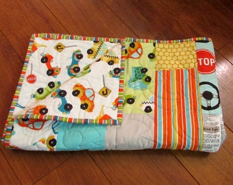 """Free US Shipping Sale Riley Blake Peak Hour Cars and Trucks Baby or Toddler Boy Quilt 39"""" x 49"""" with Matching Diaper Strap"""
