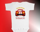 Bodysuit Baby Clothes - Personalized Applique - Race Car - Embroidered Short or Long Sleeved - Free Shipping