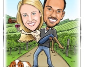 CUSTOM ILLUSTRATED Wine and vineyard themed caricature save the date, invitation, or wedding poster