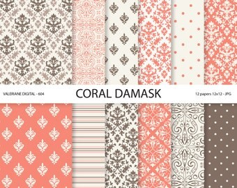 Coral pink Damask Paper, coral damask digital paper, wedding papers, scrapbook paper, scrapbooking - 604