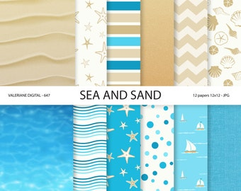 Sea and sand digital papers, summer scrapbook paper, sea, sand, starfish, boats, sea shells -  Pack 647
