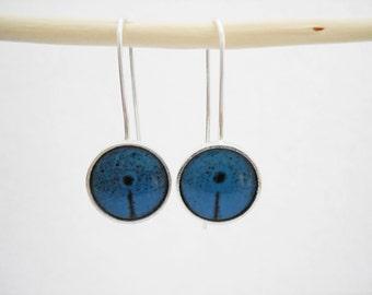 Sterling silver enamel poppy earrings silver enamel jewelry vitreous enamel fired on copper