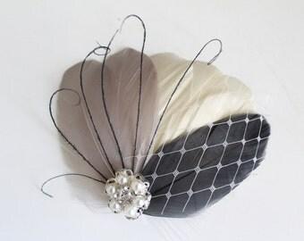 Wedding Bridal Ivory Grey Charcoal Feather Pearl Rhinestone Jewel Head Piece Hair Clip Fascinator