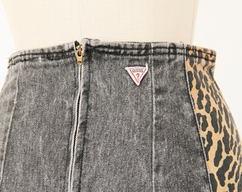 80s Guess Denim Pencil Skirt, Grey & Leopard Print Punk Rock n Roll Stone Washed high waist fitted Georges Marciano New Wave blue jean skirt