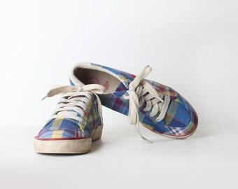 Vintage Size 9 Men's Plaid Canvas Polo Oxfords