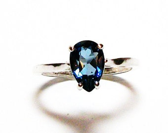 "Blue topaz, london blue topaz, blue topaz ring, birthstone ring, solitaire ring, blue, s 61/2   ""Midnight at the Oasis"""