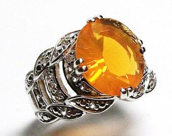 """Fire opal ring, fire opal, cocktail ring, orange, orange jewelry, s 5  """"Light my Fire"""""""