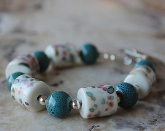 speckled lampwork and turquoise ceramic bracelet with sterling silver