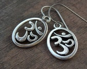 Titanium Earrings, Silver Om Charms with Hypoallergenic Titanium Ear Wires