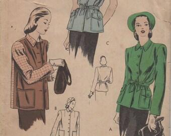 1940's Misses' Jacket Vogue 5200 Size 12 Bust 30