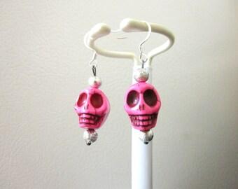 Day Of The Dead Earrings Sugar Skull Dangle Hot Pink Silver