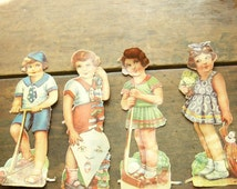 Set of 4 Charming Vintage 1930s Paper Dolls