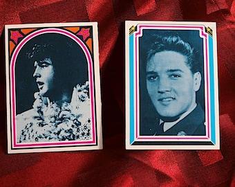 Elvis Presley Cards No 1 & No 54 Boxcar Enterprises 1978 Licensed by Factor Harum Scarum + Records 1960-1961 Two Collector Trading Cards