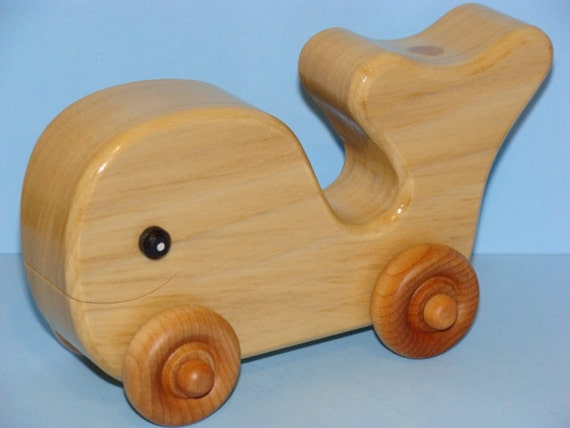 Wooden Baby Whale on Wheels