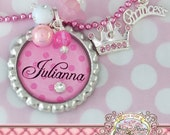 Pink Polka Dot Personalized Name Princess Bottlecap Pendant Necklace, Swarovski Crystal Crown,Princess Charm, Gift, Children,Big Sister Gift