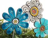 Flower garden art - plant stake - garden marker - garden decor - flower ornament - ceramic flower - abstract - teal