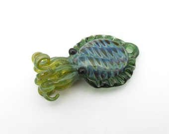 Small Glass cuttlefish pendant Silver Mossy Green