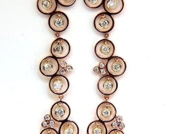 1.30CT Diamonds Dangle Earrings 3D Real Feel Modern