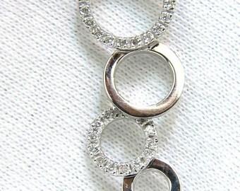 0.60CT Circle Dangles Bubbles Natural Diamonds Pendant F/VS 14Kt