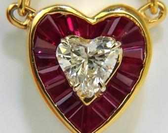 2.36CT Natural Brilliant Heart Diamond Gem Ruby Pendadnt 14KT Custom